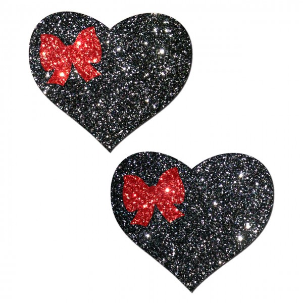 Black Heart With Red Bow Pasties