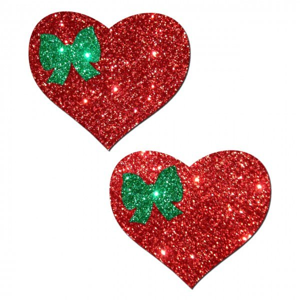 Red Heart With Green Bow Pasties