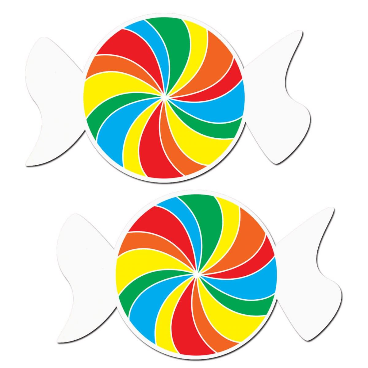 Rainbow Swirl on White Nipple Pasties
