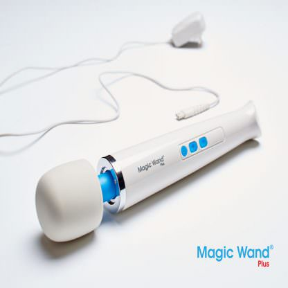 Magic Wand Plus HV-265 Body Massager and power cord on table.