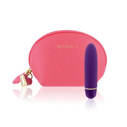 RIANNE S Classique Silicone Waterproof Bullet Vibrator shown next to the included storage bag.