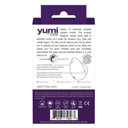 Vedo Yumi Rechargeable Waterproof Finger Vibrator Packaging Back